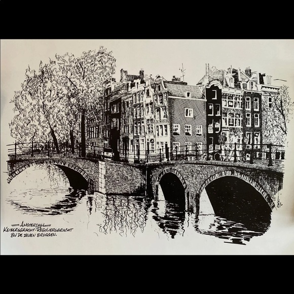 Amsterdam Scenic Bridge B&W Ink Sketch Print
